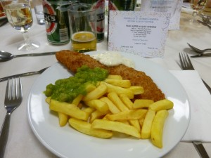 Fish and chips, apple crumble with icecream, and quiz with other 80's crowd for £12.00.